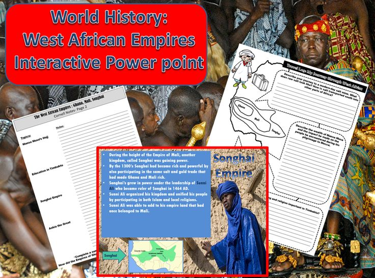 Students will examine the West African Empires of Ghana, Mali and Songhai