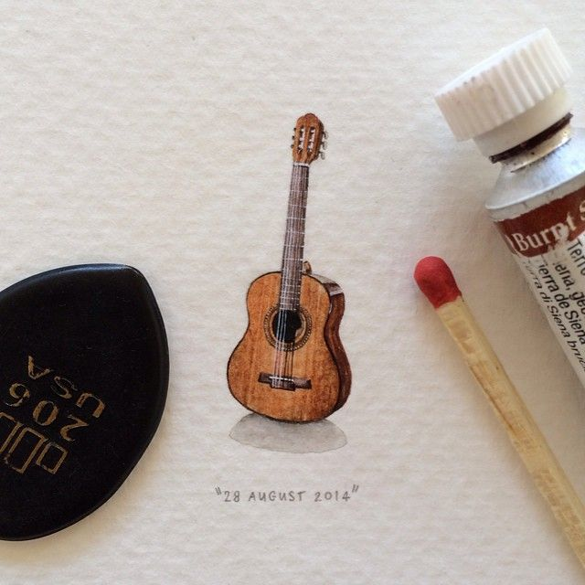 365 Postcards For Ants: Illustrator Creates One Mini Painting Per Day For A Year - Guitar