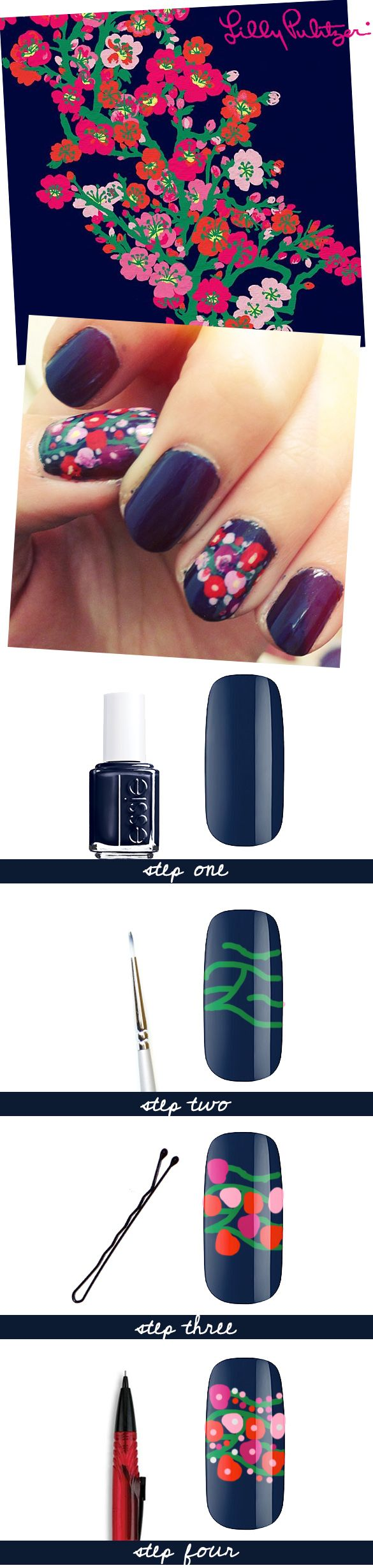how to get lilly pulitzer inspired nail art! tutorial at thatgirlmag.com :)