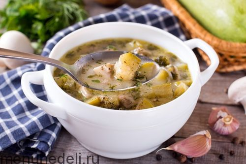 Рецепт супа из кабачков с грибами / Меню недели