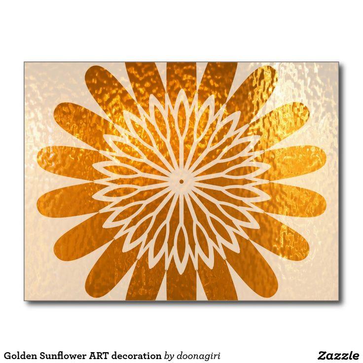 Golden Sunflower ART decoration Postcard