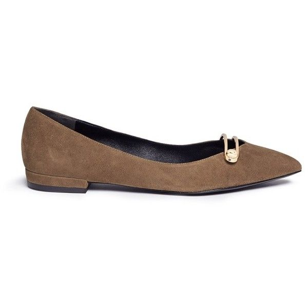 Stella Luna 'Stella' turnlock bar suede skimmer flats (6,480 MXN) ❤ liked on Polyvore featuring shoes, flats, brown, ballet shoes, suede flats, brown flat shoes, brown ballet flats and ballet flats