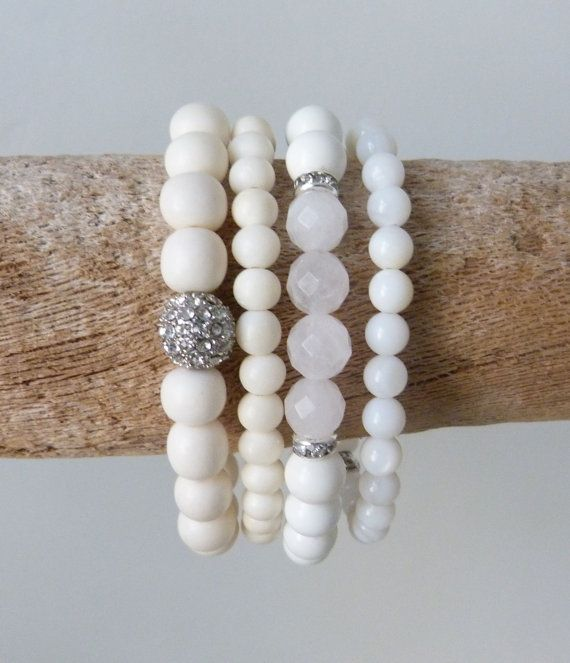 beachcomber ivory bone bead bracelet  diamante rose quartz crystal healing by beachcomberhome, $18.00