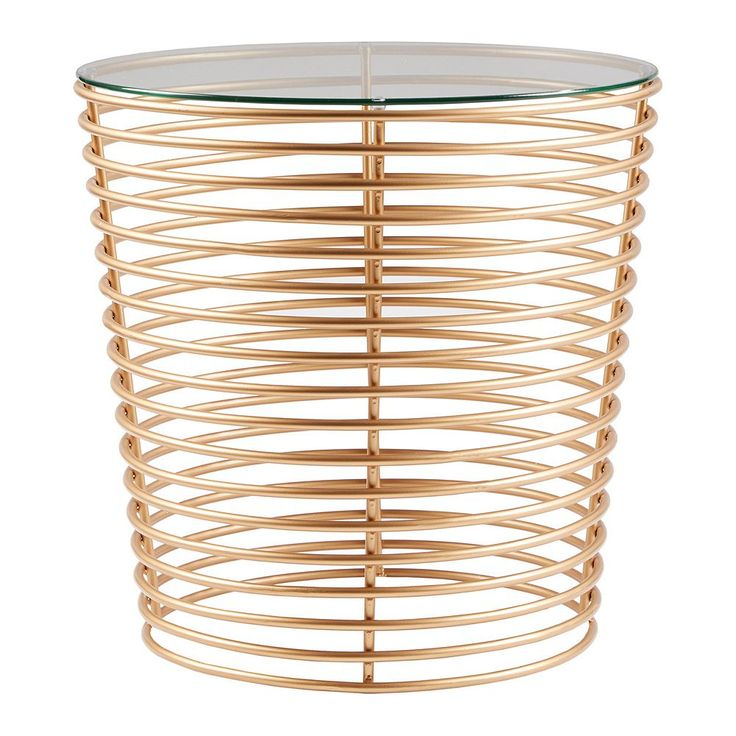 Madison Park Carson Glass Top End Table, Gold