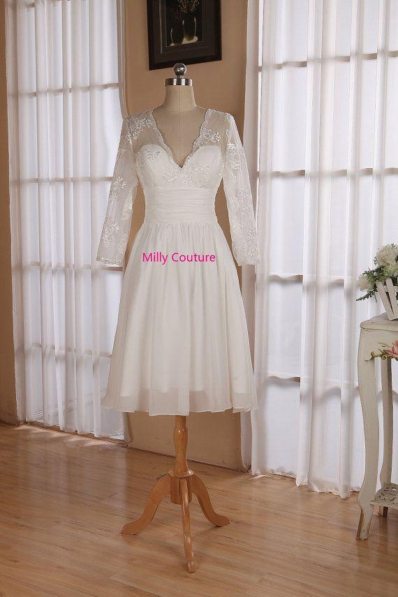 Lace short wedding dress with 3/4 sleeves, knee length wedding dress, Vintage…
