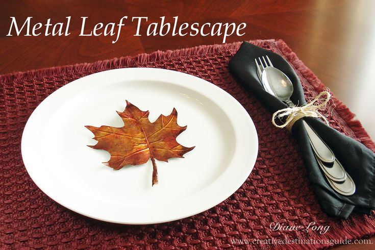 Make fall leaves out of metal to decorate your Thanksgiving table using Ranger Alcohol Inks