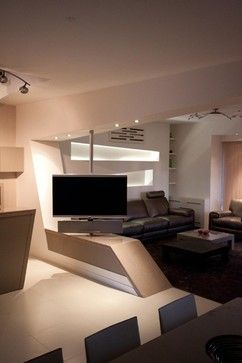 Tv Room Divider Design Ideas, Pictures, Remodel and Decor - tv swivel mount master bedroom