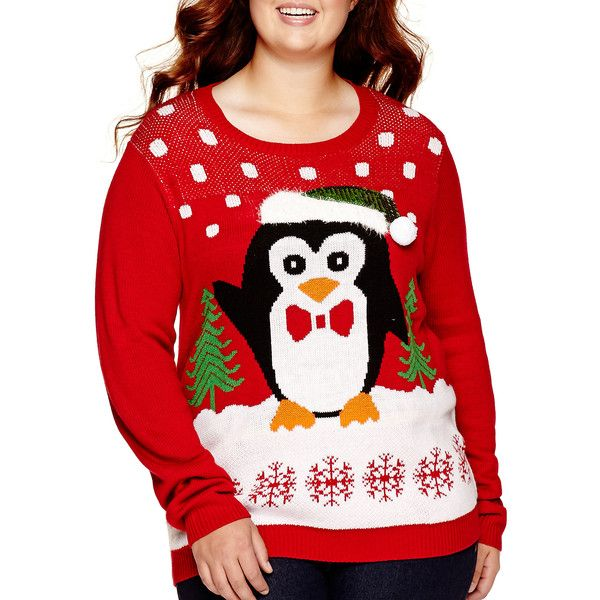 Ransom Long-Sleeve Holiday Sweater ($18) ❤ liked on Polyvore featuring plus size fashion, plus size clothing, plus size tops, plus size sweaters, plus size, womens plus sweaters, christmas sweater, plus size long sleeve tops, plus size christmas sweaters and women plus size tops