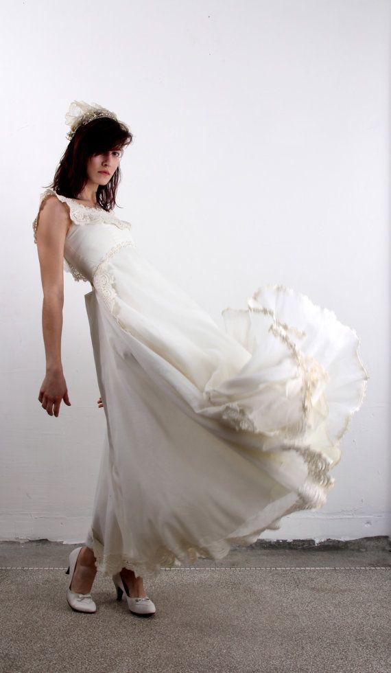 Vintage Wedding Dress  White Cotton 1960s Gown by VeraVague, $240.00
