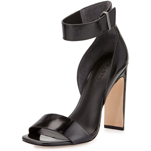 Halston Heritage Marylan Mirrored-Leather Flat-Heel Sandal ($220) ❤ liked on Polyvore featuring shoes, sandals, black, ankle wrap flat sandals, wide sandals, open toe sandals, black heel sandals and ankle strap high heel sandals
