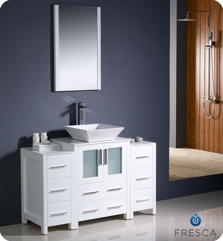 Fresca Torino 48 White Modern Bathroom Vanity With Two Side Cabinets And Vessel Sink Reno