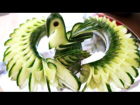How To Make Cucumber Bird - Fruit Carving Garnish - Sushi Garnish - Food...