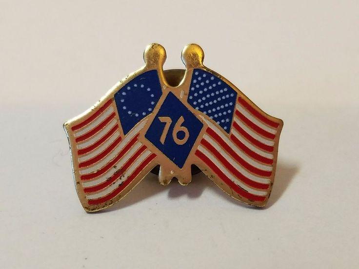 Vtg Gold Tone American Flag Bicentennial 1976 Tie Tack Lapel Pin Red White Blue