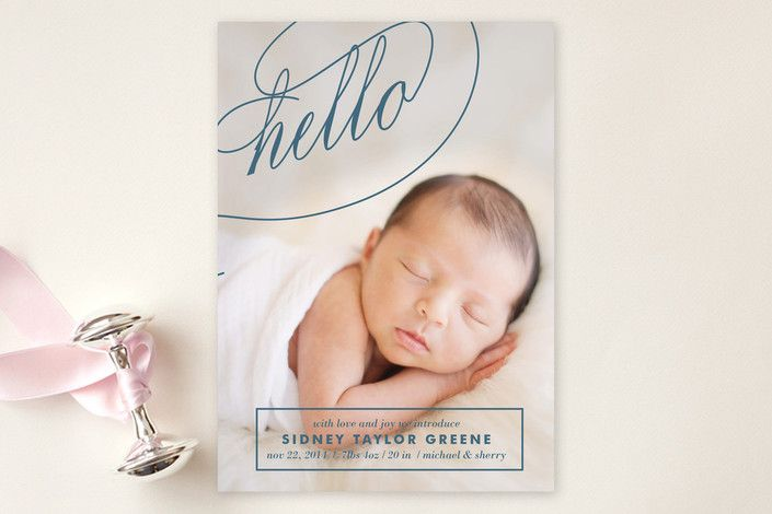 Fancy Hello Birth Announcements by Melanie Severin at minted.com