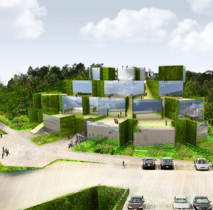 'Urban mirrors' reflecting the sky, mountains and surrounding natural environment. Proposol for the new Medellin city museum in Colombia. A project by studio Akarchitectes