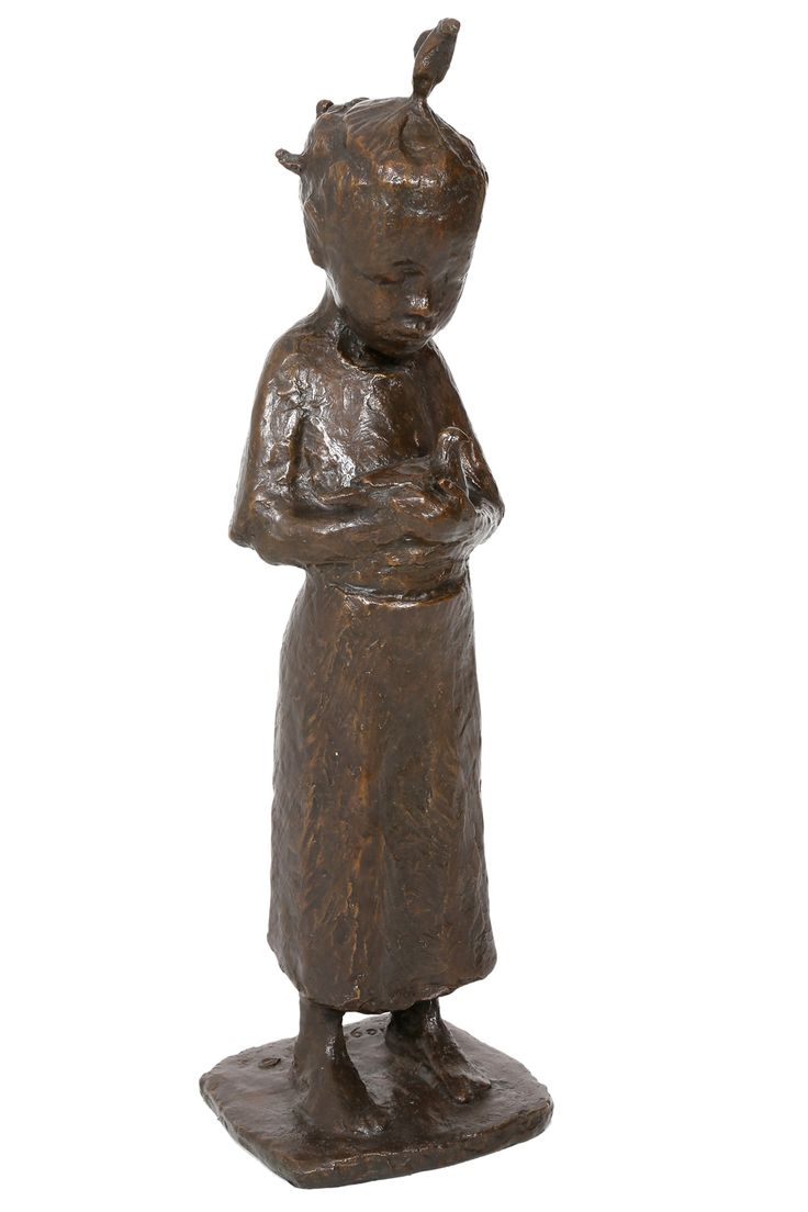 An original sculpture by Theo Megaw entitled: Small Girl with Dove, bronze, h 64cm. For more visit www.finearts.co.za