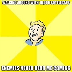 Fallout 3 - Walking around with 10,000 bottlecaps enemies never hear me coming