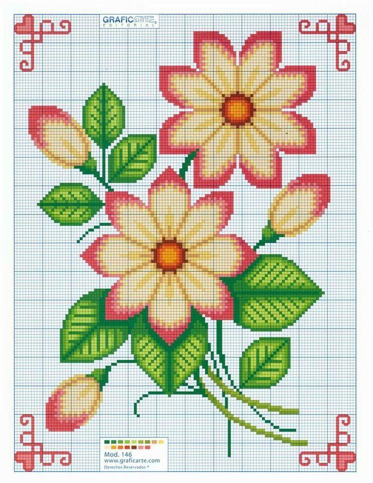 Cross Stitch YELLOW flowers