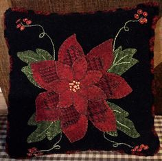 Pattern Only or Pattern with Wool Kit. Kit price includes additional postage fees built in. Please view all photos. Note: Wool kit includes wool to complete project. You will receive wool for background, backing and applique pieces. Wool for braided edging and floss not included in kit. Finished piece 9 square Designer Carolyn Snyder
