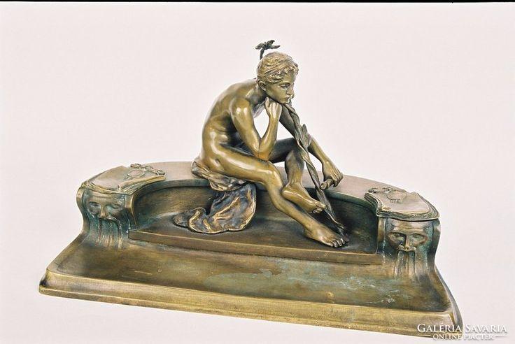 Íróasztalkészlet bronz férfi akt