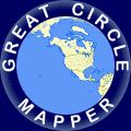 Website that displays maps depicting the great circle path between locations, and computes distances along the paths. A great circle path is the shortest path on the surface of a sphere between two points on that sphere.