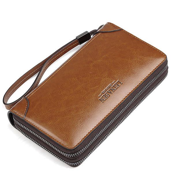 Multi-function Business Clutch Bag High-capacity Genuine Leather Oil Wax Wallet - US$29.99  #men #women  #bags #fashion