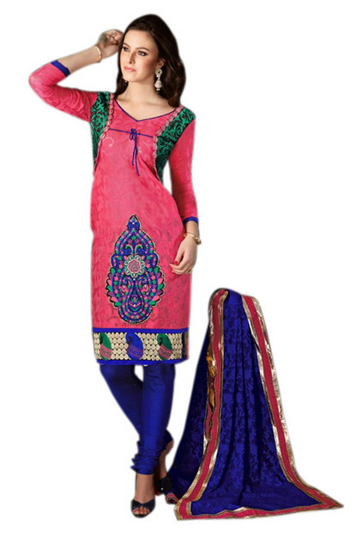 Pink and Blue designer Unstitched  Dress Material For Her