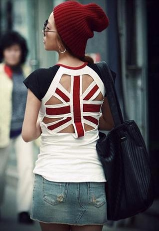 LADIES GIRLS SEXY PUNK UK FLAG HOLLOW OUT T-SHIRT HOLEY TOP