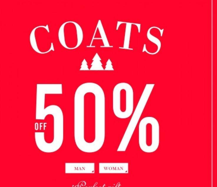 -50% em casacos de homem e mulher exceto casacos de malha, polares ou em pele