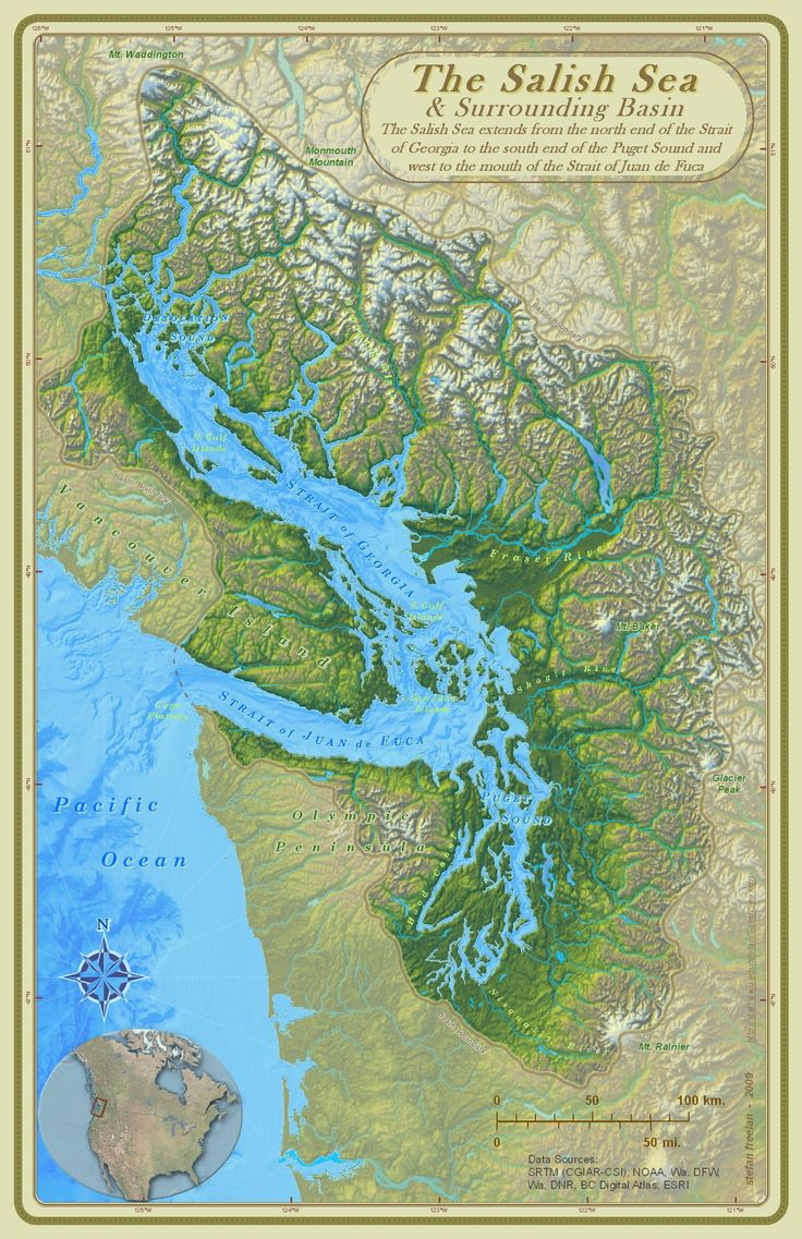 """Cartographer Stefan Freelan of Western Washington University produced this beautiful map of the Salish Sea. We're honoured that Stefan gave us permission to use it in """"Ogden Point Odyssey""""."""