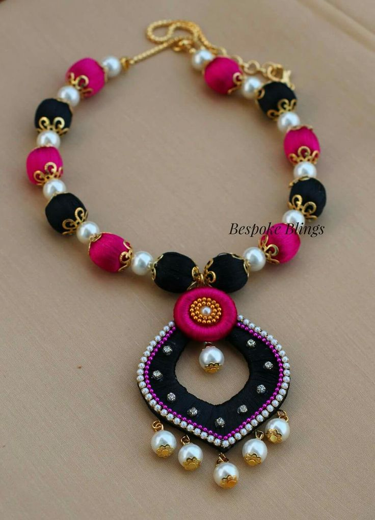 il thread jewellery necklace black en fullxfull silk handmade set indian and jewelry listing earrings no