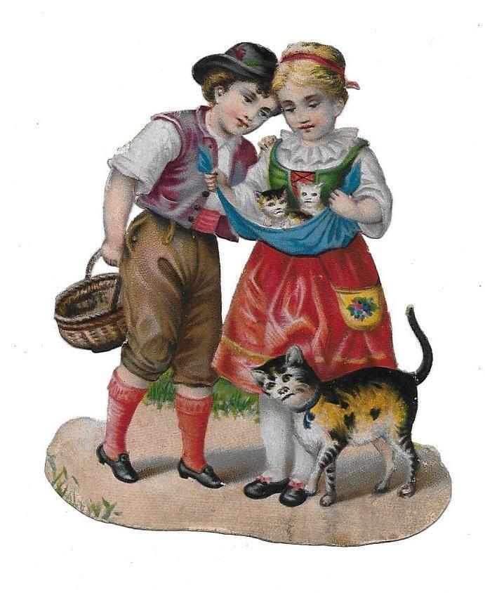 Victorian Die Cut Scrap The new Kittens: