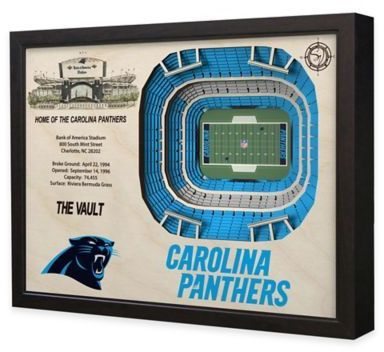 $199.99 - NFL Carolina Panthers Stadium Views Wall Art - Complement your sports room, man cave, or office with the officially licensed NFL Stadium Views Wall Art. Ideal for any alumnus, this wall art features a flawless, laser-cut, 3D wooden reconstruction of the Bank of America Stadium.
