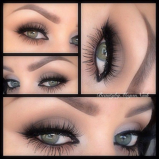 taupe shadow, smudged black eyeliner & heavy lashes
