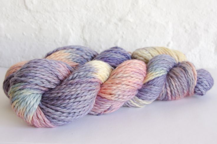 There are a few extra skeins available of this limited colourway... last chance!  Colour - variegated butter, apricot, soft pink, amethyst, cornflower  Available in:   Sutherland Lace  75% Fine superwash Merino, 20% silk, 5% silver Stellina  Lace, 100g skeins, 800 metres per 100g.