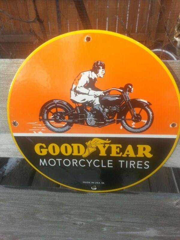 Vintage 1936 Goodyear Motorcycle Tires Porcelain Sign Rack Plate