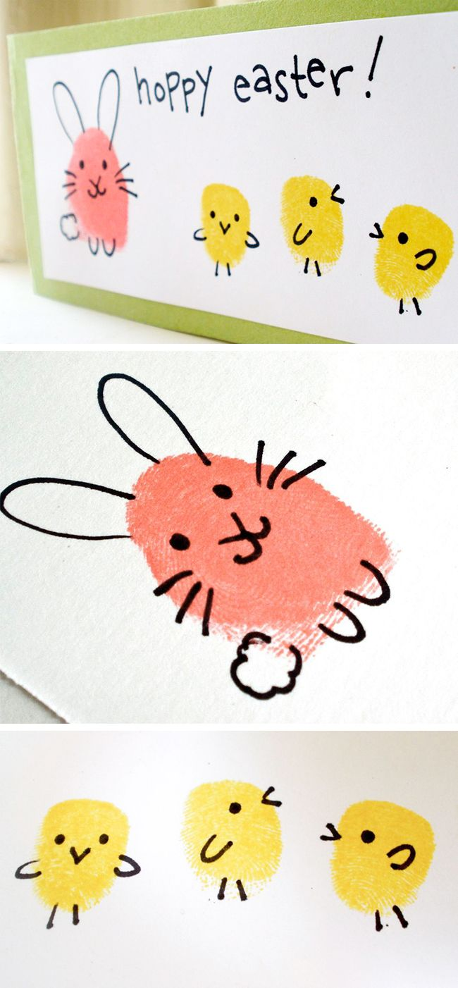 fingerprint art in yellow an orange, featuring ester bunny and three chicks, with drawn details, and the words hoppy easter, written in black