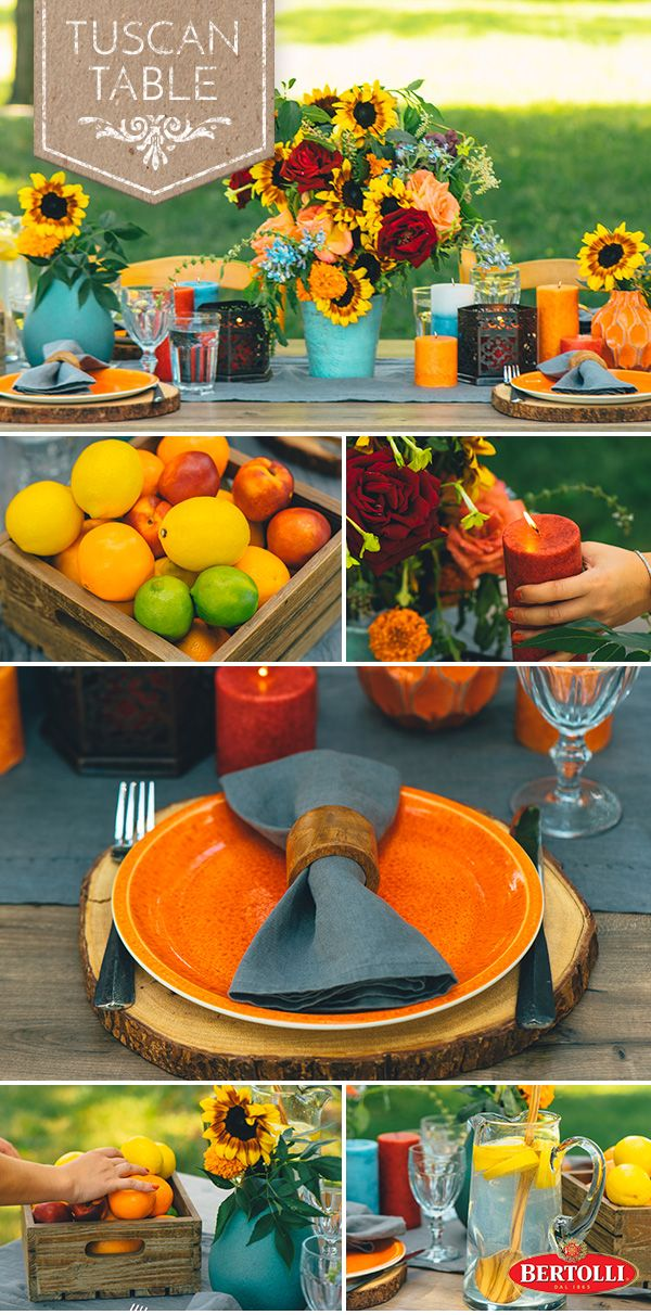 Find inspiration in the Tuscan countryside when setting up your outdoor celebrations. Accentuate neutral tones with extra colorful tableware to achieve an inviting balance. Add lush plants for a rustic finish.