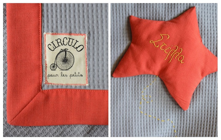 ★  Stella means star... A blanket for little Stella..made of grey cotton & coral linen..and hand embroidered..!! —  https://www.facebook.com/circulobebe