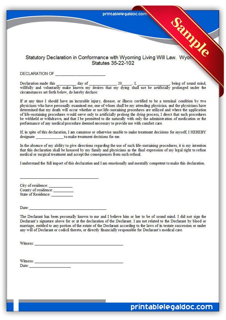 Free Printable Living Sustaining Statute, Wyoming Legal Forms   Legal forms   Legal forms ...