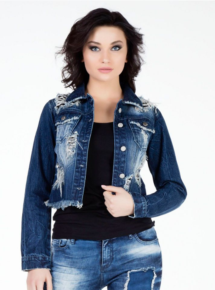 Cipo & Baxx Damen Jeansjacke im Destroyed-Look Jetzt bestellen unter:  https://mode.ladendirekt.de/damen/bekleidung/jacken/jeansjacken/?uid=c6f24782-22a9-  ...