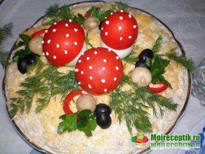 russian salad Салат с ветчиной Грибная поляна