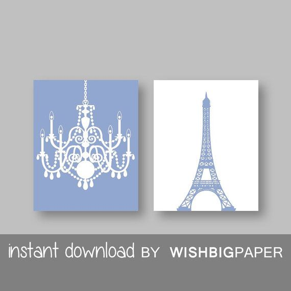 SALE!! Eiffel Tower Chandelier Prints Set of Two (2)-Instant Download.Paris.French.Wall Art.Decor Baby Girl Room Nursery.Girls room.Blue Art