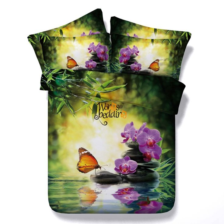 New Design Bedding Set 3pcs 3D Printed Bed Sheet Bed Set Bedcloth Stone Butterfly Floret Queen/twin Size Duvet Cover Pillowcases
