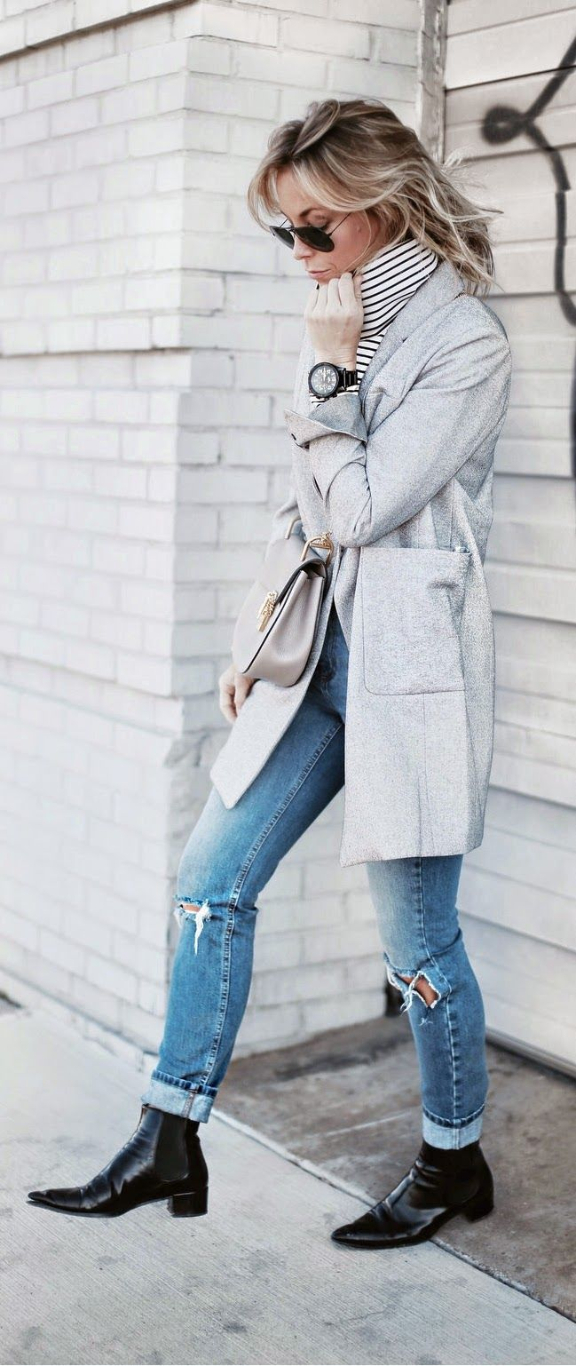 Causal Outfits Stripes and Ripped Classic Chic look by Happily Grey