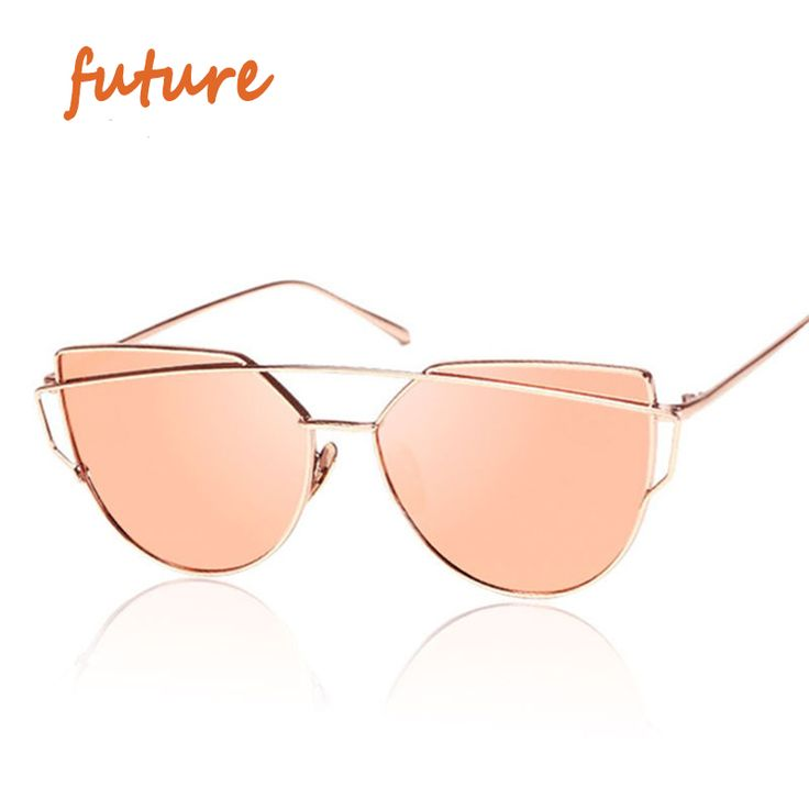 2016 New Cat Eye Sunglasses Women Vintage Fashion Rose Gold Mirror Sun Glasses Unique Flat Ladies Sunglasses Oculos UV400 *** Want additional info? Click on the image.