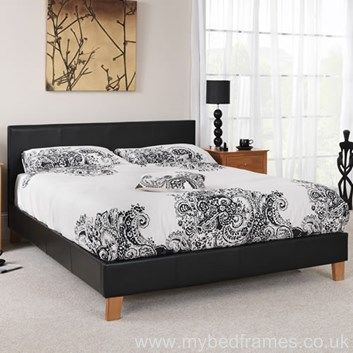 contemporary faux leather bed frame features a stylish and modern look includes a high