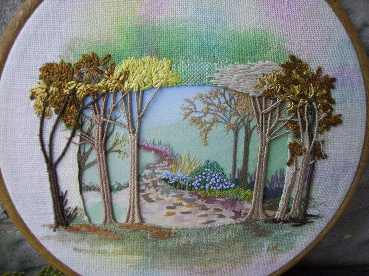 Needlewoven Trees and Stumpwork Pansies 001
