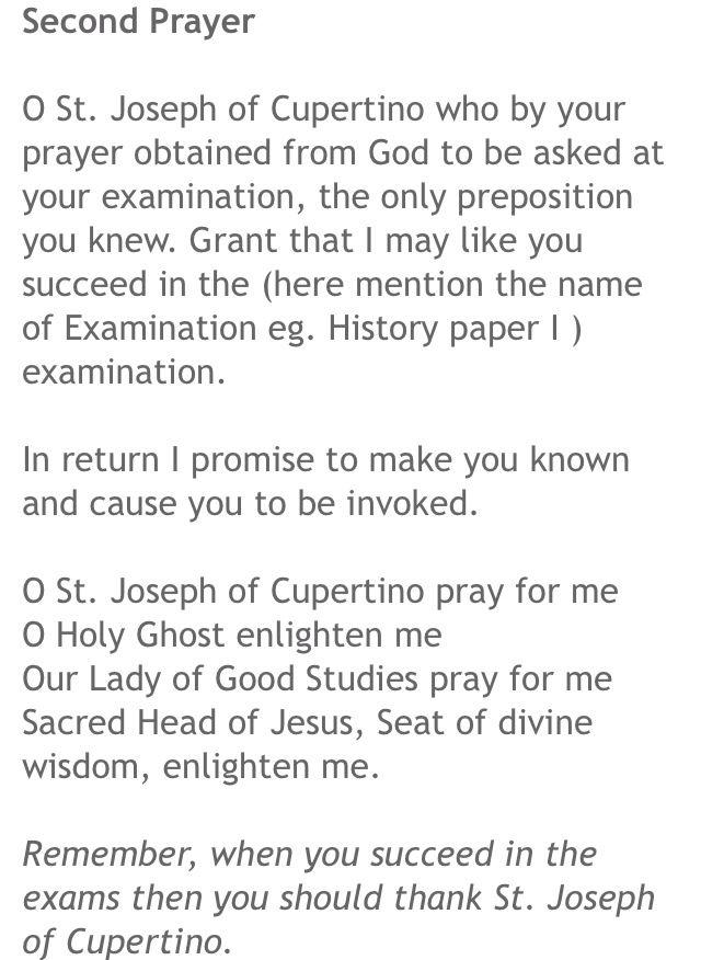 Second Prayer to St. Joseph Cupertino.