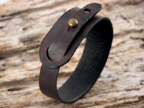 FREE SHIPPING Hand made dark brown leather bracelet by eliziatelye, $26.00